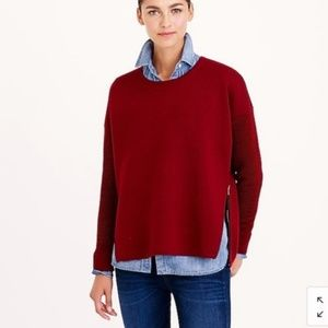 J. Crew Collection Red Wool Bonded Zip Sweater S